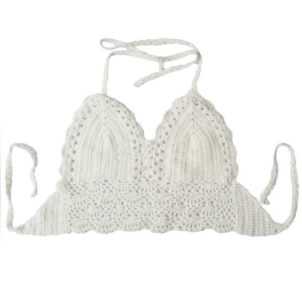 Women Bra Crochet Hollow Out Halter-GKandaa.net