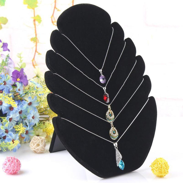 New Black 1 Pc Flame Shaped Necklace Easel Showcase Holder Jewelry Pendants Display Stand Shelf Free Shipping Wholesale - GKandAa