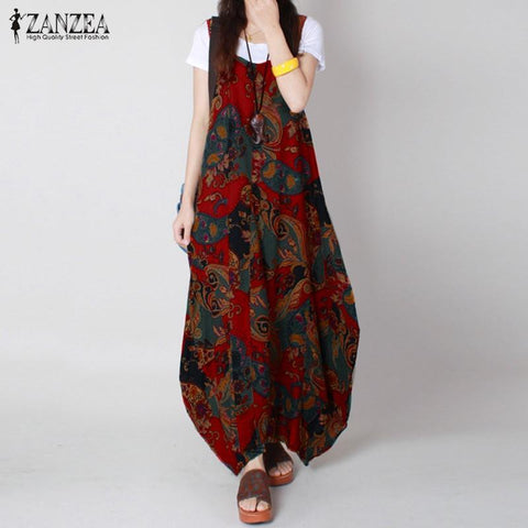Maxi Dresses Summer Vintage Print  Loose Sleeveless  Dress Plus Size - Gkandaa.net