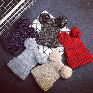 Women's Beanies Warm poms lovely 5 color hat-GKandaa.net