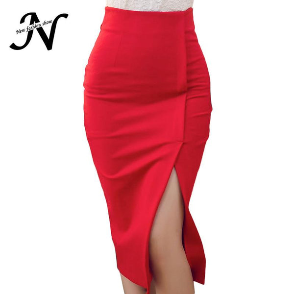 Women Skirt Lady High Waist Midi Tight Red Slit elegant off-GKandaa.net