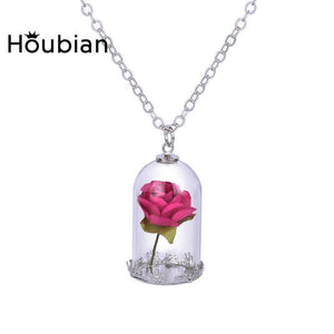 Rose Pendant Necklace  Classical Glass Vial Flowers-GKandaa.net