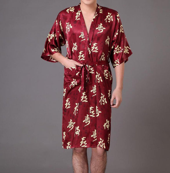 Men's Sleep Lounge PU silk Bathrobe kimono Night wear - Gkandaa.net