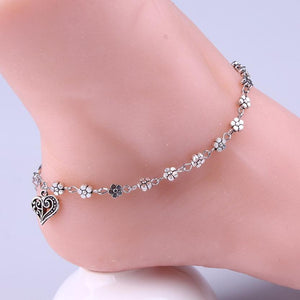 Beach Women's Anklets Bead Chain Bracelet Silver Plated For Ankle-GKandaa.net