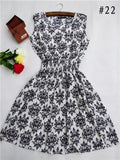 HOT! new 20 Styles Women casual Bohemian floral leopard sleeveless vest printed beach chiffon dress nz17 - GKandAa - 12