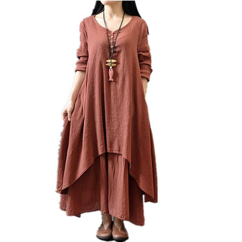 Maxi Dresses Cotton Linen Long  Beach Casual Dress  Plus Size-GKandaa.net