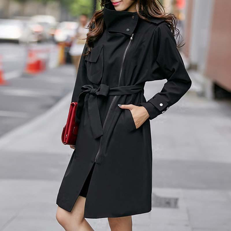 Women Trench Color Full Sleeve Slim Coat WWF674-GKandaa.net