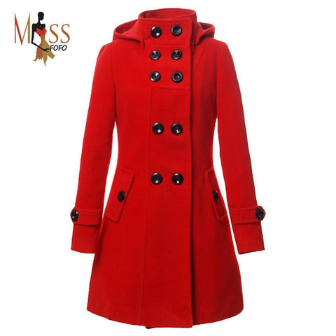 Women's Trench Double Breasted Wool Coat long jacket-GKandaa.net