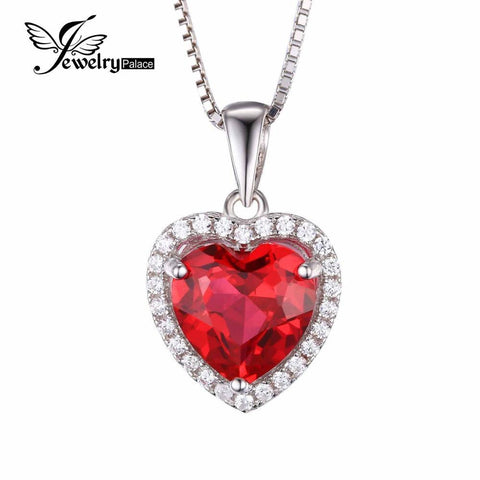 Pendants 4.5ct Red Stone Ruby Heart Wedding Genuine Solid 925 Sterling-GKandaa.net