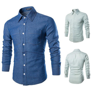 Men Casual Shirt Cotton Turn-down Collar-GKandaa.net