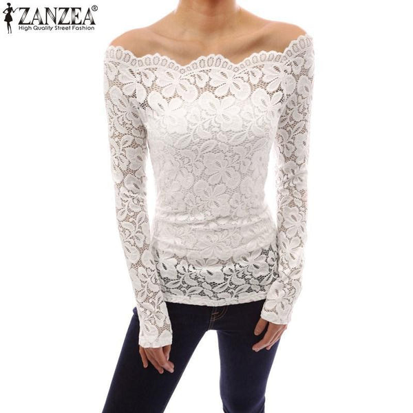 Women's Blouses off shoulder Lace-GKandaa.net