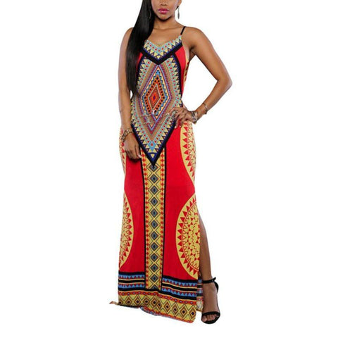 Maxi Dresses Sexy Print  Long Dress Plus Size-GKandaa.net