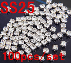 Art Supplies SS25 5mm 100pcs Clear Crystal Claw Rhinestones Diamond-GKandaa.net