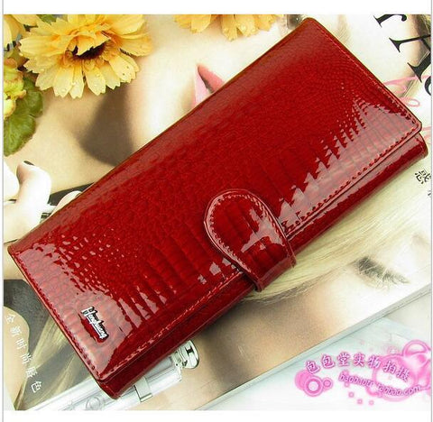 Women's Wallets Classic crocodile patter cowhide leather long-GKandaa.net