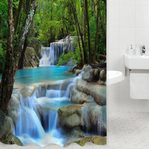 Bathroom Accessories 3D Waterfalls Nature Shower Shower 180cm*200cm-GKandaa.net