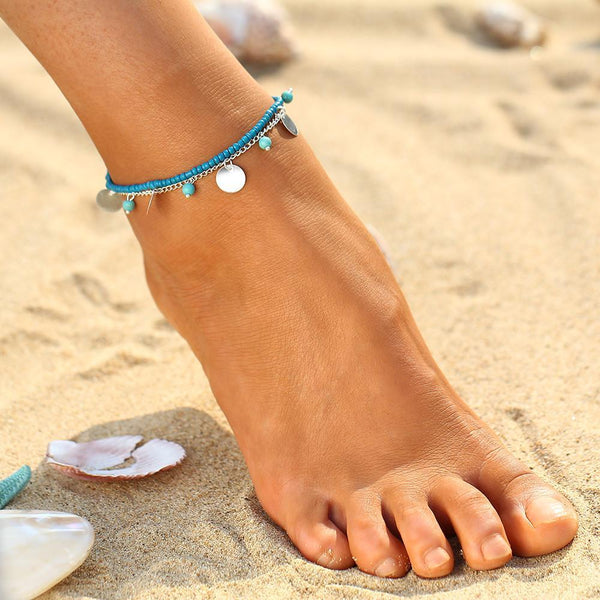 17KM 1 PCS Summer Turquoise Beads Anklet Foot Chain Ankle Snow Bracelet Charm Leaf Anklet Tassel Beach Vintage Foot Jewelry Gift - GKandAa - 1