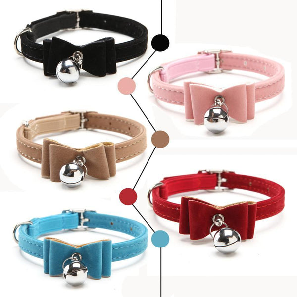 Pet Products Elastic bow tie Bell dog cat collars soft velvet 5 colors-GKandaa.net
