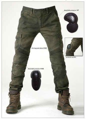 Men's Army Green Jeans Leisure high quality  protection equipment moto pants-GKandaa.net