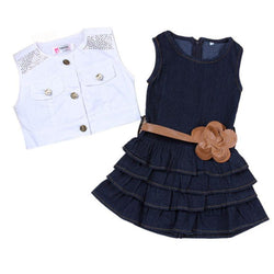 2pcs Baby girl Dress+Jacket Suits belt Jeans kids Summer Denim vest dress Models Vest Jeans Children Girls clothes Jeans 2-7 Y - GKandAa - 1