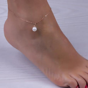 Anklets for Women Simulated Pearl Bracelet Rose Gold Plated For Ankleanzellina.myshopify.com