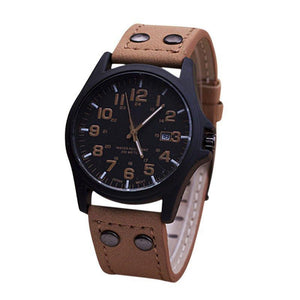 Sport Wat Military Leather B Quartz Wrist Watch-GKandaa.net