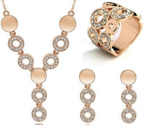 Jewelry Sets 18K Gold Plated Classy Sparing Crystal Wedding-GKandaa.net