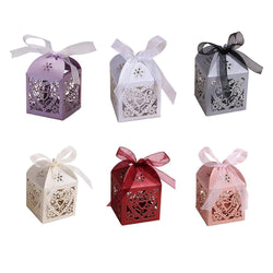 Love Heart Laser Cut Candy Gift Boxes with ribbon Wedding Party Favor box pouch wedding boxes party candy bags wedding favors - GKandAa