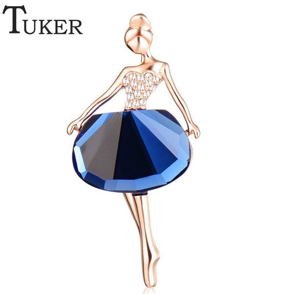TUKER 18K Gold Plated Jewelry New Fashion Dress Icons Pins Brooches Ballet Girl CZ Wedding Bridal Rhinestone Dresses for Women - GKandAa - 1