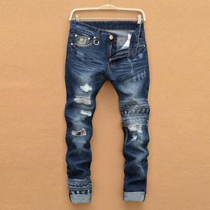 Men's Jeans fashion hole straight pants high quality-GKandaa.net