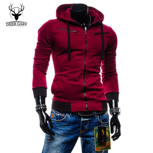 Men's Hoodies Slim Hooded Sport Zipper-GKandaa.net