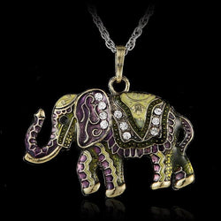 (Free chain 70-80cm) 1 pcs Fashion jewelry accessories bohemia long design vintage gem rhinestone elephant necklace pendant - GKandAa - 1