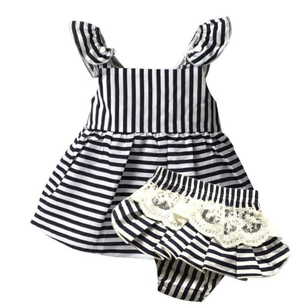 Clothing Sets sleeveless Stripe belt t-s+white lace Shorts Set-GKandaa.net