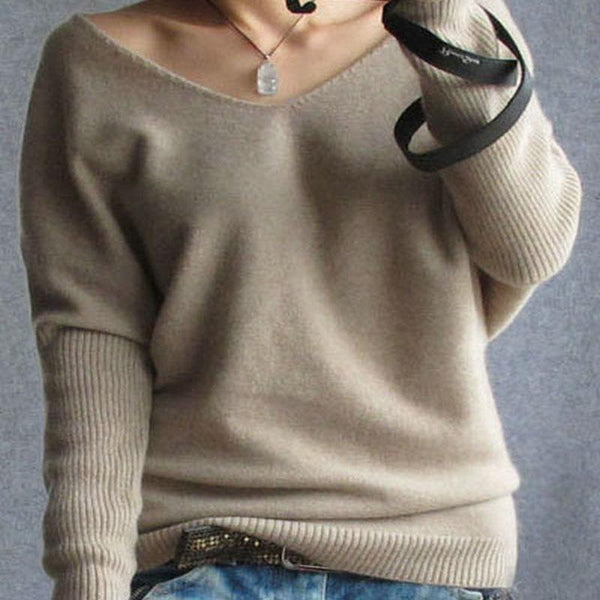 Women's Pullovers 100% cashmere fashion v-neck loose sweater-GKandaa.net