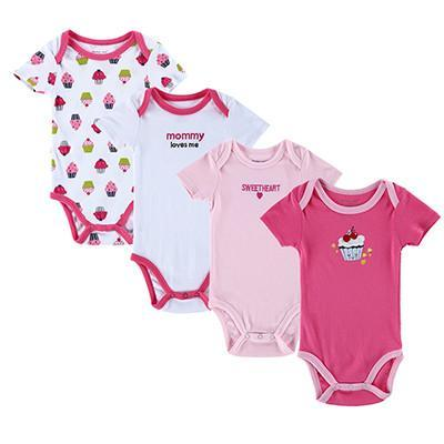 Baby Bodysuits 4PCS s Short Sleeve Striped Color Blue-GKandaa.net