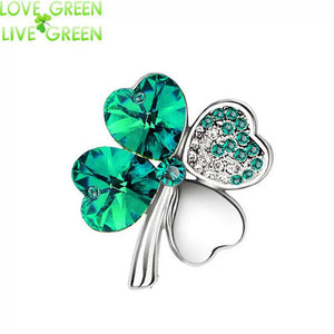Brooches 18KGP Austria Crystal four leaf clover 9554-GKandaa.net