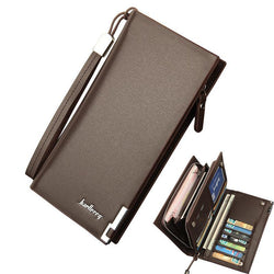 Baellerry Business Men's Wallets Solid PU Leather Long Wallet Portable Cash Purses Casual Standard Wallets Male Clutch Bag - GKandAa - 1