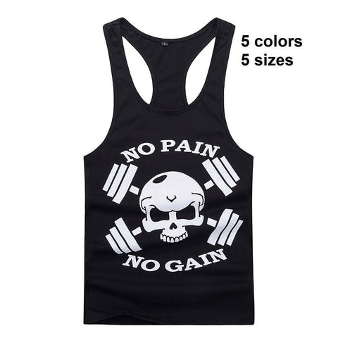 Fitness Tank Tops for Men's Tank Tops Golds Gym NO PAIN NO GAIN fitness Muscle Tight-GKandaa.net