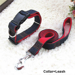 Hot Sale 120cm Long Fashion Denim & Nylon Rope Dog Leash Black/Red/Blue Jean Puppy Dog Collar/Harness+Leash Sets Pet Products - GKandAa - 1