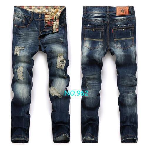 Men's Jeans hole Casual ripped pants Straight trousers-GKandaa.net