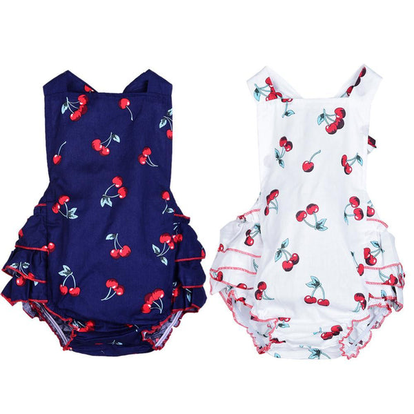 Kids, baby, Baby Romper + Headbands Sleeveless Cotton Cherry Print Baby Girl Clothes Infant Newborn Jumpsuit Summer Clothing Body suit - GKandAa - 1