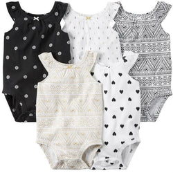 Kids, baby, 5 Pieces/Lot Baby Bodysuits Sling Sleeveless Cotton Baby Jumpsuit Solid Baby Clothes Dot Print Girls Bodysuits Summer V49 - GKandAa - 1