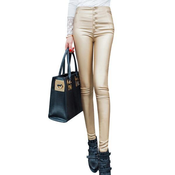 Women's Leggings PU Leather High Waist-GKandaa.net