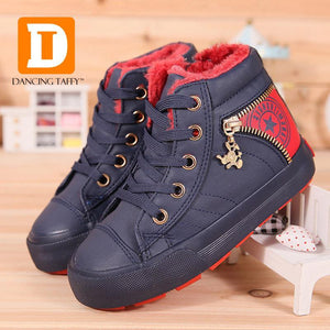 Girls' Winter Boots Plush PU Leather Snow Lace Up Casual Rubber-GKandaa.net