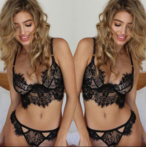 sexy lace caged bralette bikini bra crop bandage see through eyelash bra set lingerie bras for women soutien gorge underwear set - GKandAa - 2