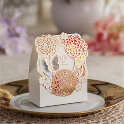20pcs/lot Romantic Favors and GIfts Bag Wedding Decoration Laser Cut Pretty Flower Paper Candy Box For Guests Party Supplies - GKandAa