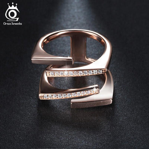 Rings 18K Rose Gold/Platinum Plated great Geometric CZ Paved 22-GKandaa.net