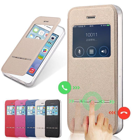 Case Cover for iPhone Luxury PU Leather 5 /5s Flip St Clear TPU-GKandaa.net