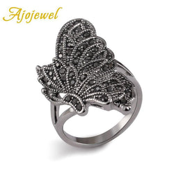 Ajojewel Brand #7-9 Unique Elegant Vintage New Style Silver Color Black CZ Diamond Butterfly Ring Women Animal Jewelry - GKandAa