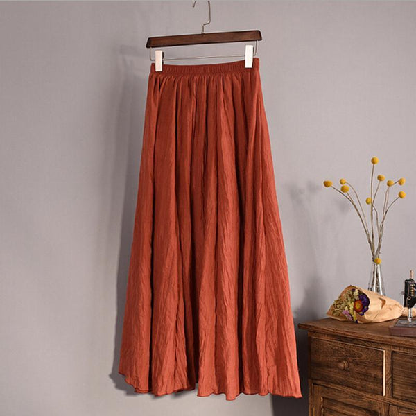 Women Skirt Cotton Pleated Maxi Retro Slim Elastic Waist-GKandaa.net