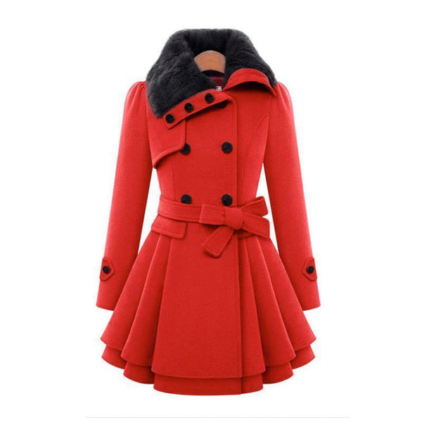 Women Trench Slim Wool Double Breasted Coat-GKandaa.net